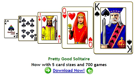 Pretty Good Solitaire - Now with 5 card sizes and 725 games including Spider